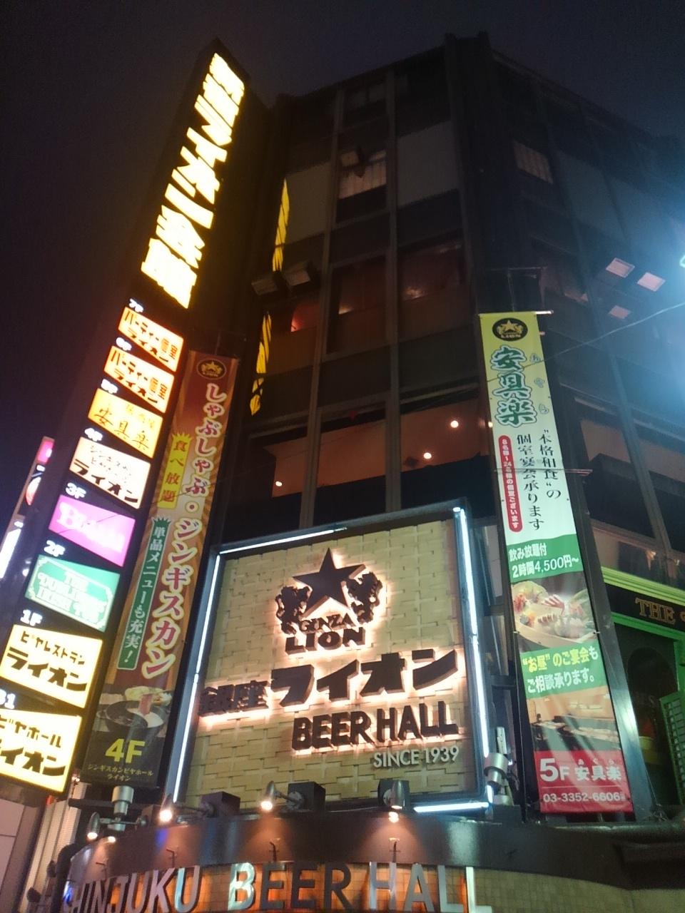 新宿ライオン会館のジンギスカン料理で職場の歓迎会をしてもらった